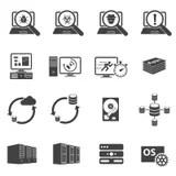 Flat Vector Icons Set Of Cloud Storage, Social Media, SEO