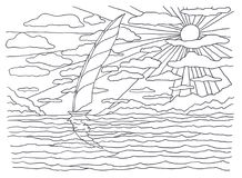 Template For Coloring. Landscape Painting. Sea, Waves