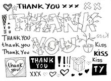 Thank you doodle stock vector. Illustration of speech