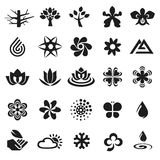 Set Of Flower Symbols, Icons And Signs Stock Photography