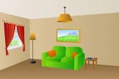 Woonkamer met oranje muren stock afbeelding Afbeelding
