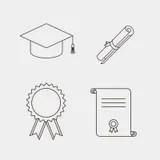 Vector Black Academic Cap Icons Set Royalty Free Stock