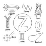 Animal Alphabet M Coloring Page Stock Vector