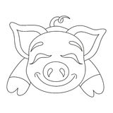Adorable Piggy Coloring Page Stock Illustration