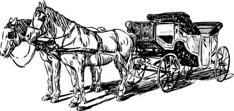 Sketch of vintage carriage stock image. Image of side