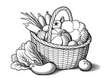 Vegetables, Still Life, Outline Stock Illustration