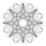 Frbende Schwarze Stern Mandala Vektor Abbildung