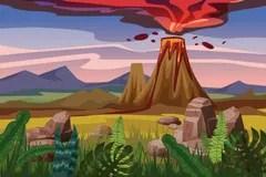 cartoon exploding volcano stock