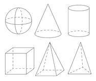 Geometry. Cube, Pyramid, Cone, Cylinder, Sphere Stock