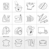 Clean Wash Wipe Vacuum Cleaner Worker Pictogram Stock