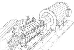 Set-water Motor, Pump, Valves For Pipeline. Vector Stock