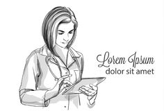Woman Doctor Or Nurse Vector Portrait Illustration