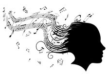 Woman head profile hair music concept Royalty Free Stock Images