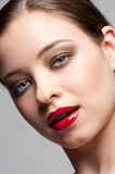 Woman Red Lips Stock Image Image Of Closeup Attractive