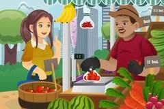 market woman farmers fruit seller vector shopping cartoon vendor productos scene vegetable supermarket shutterstock pic alternativa anime imagenes imagen credito