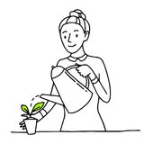 Girl Woman Happy Cartoon Gardener With Watering Can Flower