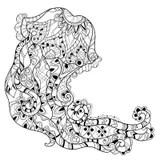 Zentangle Jellyfish Doodle. Hand Drawn Vector. Stock