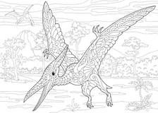 Pterodactyl dinosaur stock vector. Illustration of image