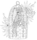 Zentangle Parrot On Nest. Hand Drawn Vector Stock Vector
