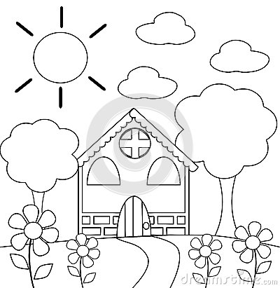Coloring the house in black and white
