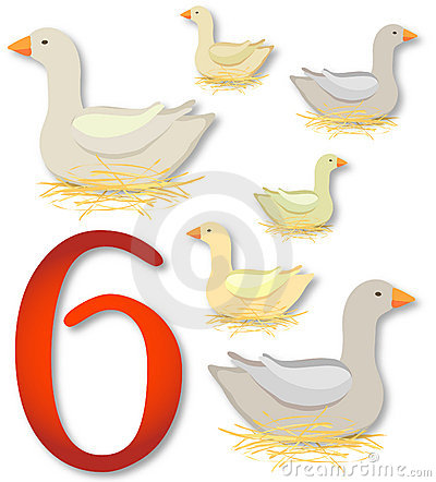 12 Days Of Christmas 6 Geese A Laying Royalty Free Stock