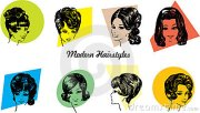 1960s hairstyles vector illustration