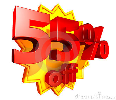 55 Percent Price Off Discount Stock Photo Image 9328310