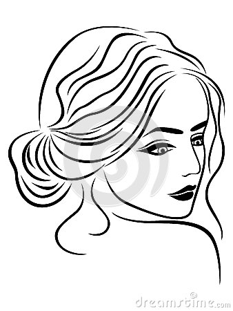 Abstract Female Head Outline Stock Vector Image 59236282