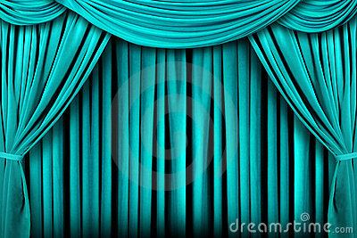 Abstract Teal Theatre Stage Drape Background Royalty Free