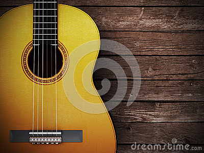 Acoustic Guitar On Wood Background Royalty Free Stock