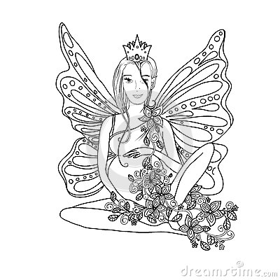 Adult Coloring Book Page With Fairy Pregnant Lady