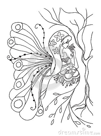Adult Coloring Book Page With Pregnant Lady.Pregnancy In