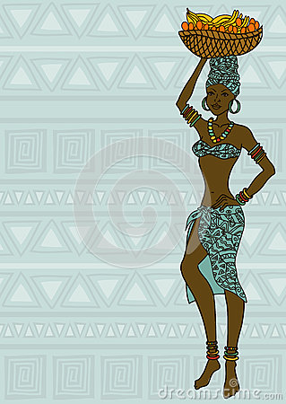 African Girl With Fruit Basket On The Head Stock Image  Image 33055301