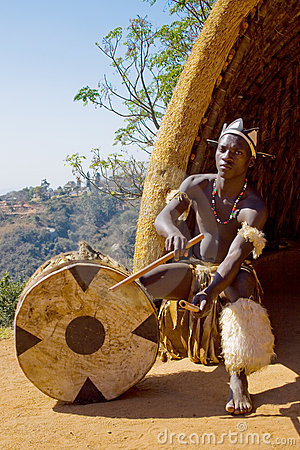 African Zulu Drum Player Royalty Free Stock Images Image