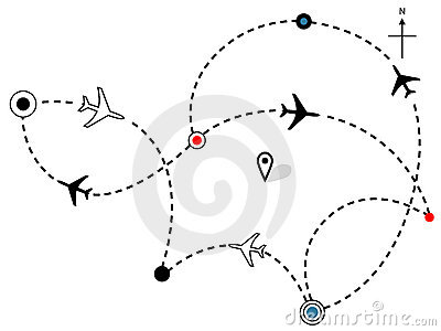 Airline Plane Flight Paths Travel Plans Map Royalty Free