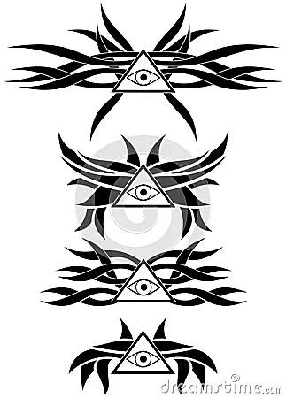 All-Seeing Tattoos Set Eye Isolated Stock Illustration
