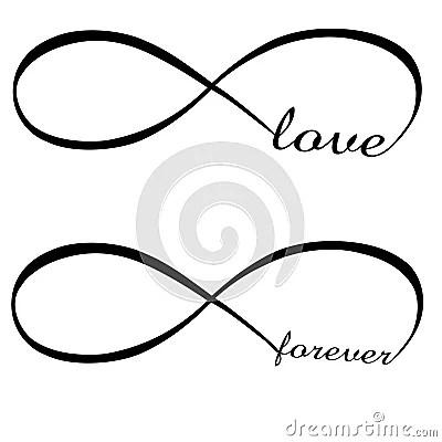 Amore E Per Sempre Simbolo Di Infinito Immagine Stock