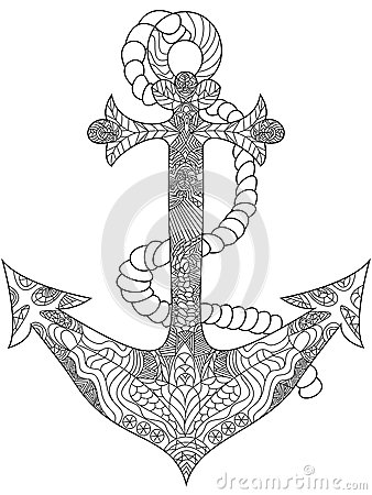 Anchor Coloring Vector For Adults Stock Vector Image