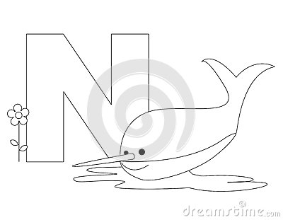Animal Alphabet N Coloring Page Royalty Free Stock