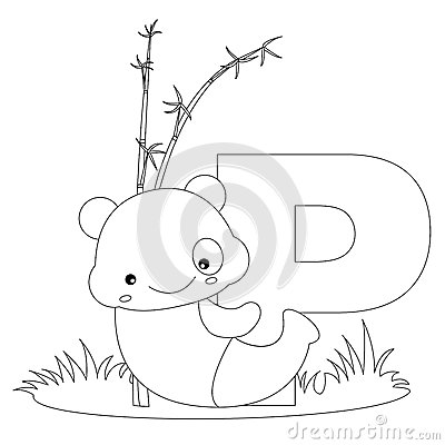 Animal Alphabet P Coloring Page Royalty Free Stock