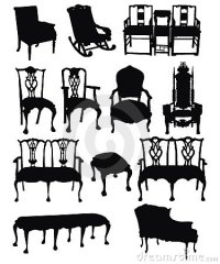 Antique Chairs Silhouettes Stock Photo - Image: 13207600