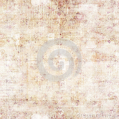 Fall Pattern Wallpaper Antique Grungy Script And Floral Background Stock Photo