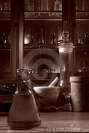 Antique Science Research Lab With Old Glassware Stock