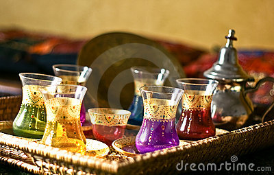 Arabic Tea Set Cups And Plates Stock Image  Image 14010181