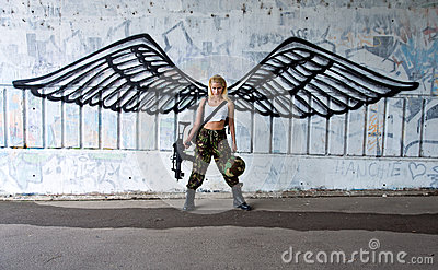 Army Girl With Rifle With Angel Wings Royalty Free Stock
