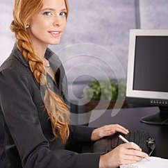 Living Room Desk Area Rug Attractive Redhead Businesswoman At Work Royalty Free ...