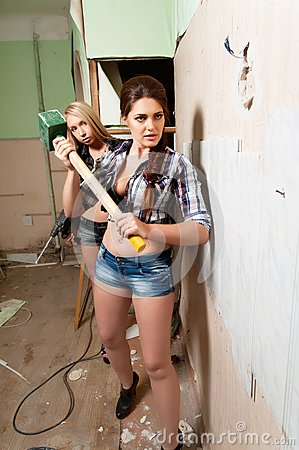 Attractive Women With Tools Royalty Free Stock Photo