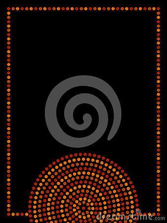 Australian Aboriginal Geometric Art Concentric Circles Frame In Orange Brown And Black Vector