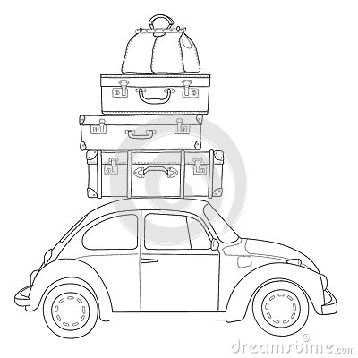 Auto Travel Retro Car With Luggage On The Roof Stock