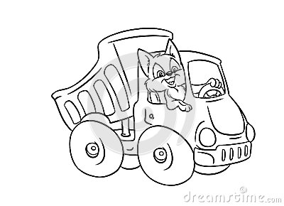 Automobile Truck Cat Driver Coloring Pages Royalty Free